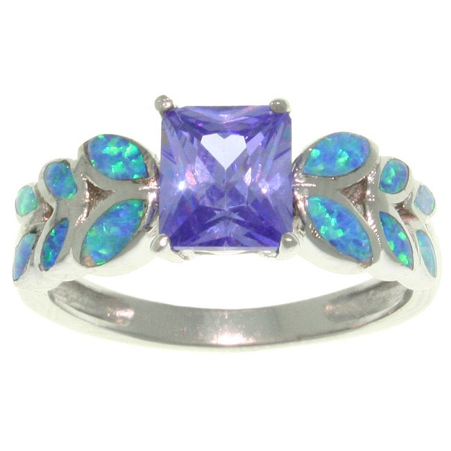 Carolina Glamour Collection Sterling Silver Purple Cubic Zirconia and Created Opal Leaf Motif Ring