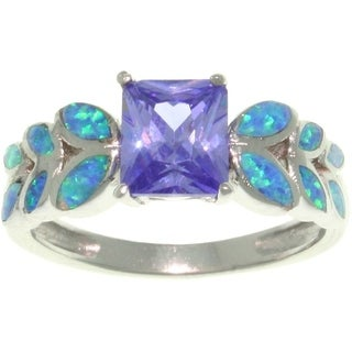 Sterling Silver Purple Cubic Zirconia and Created Opal Leaf Motif Ring