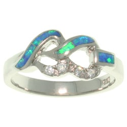 Carolina Glamour Collection Sterling Silver Cubic Zirconia and Created Opal Linked Hearts Ring