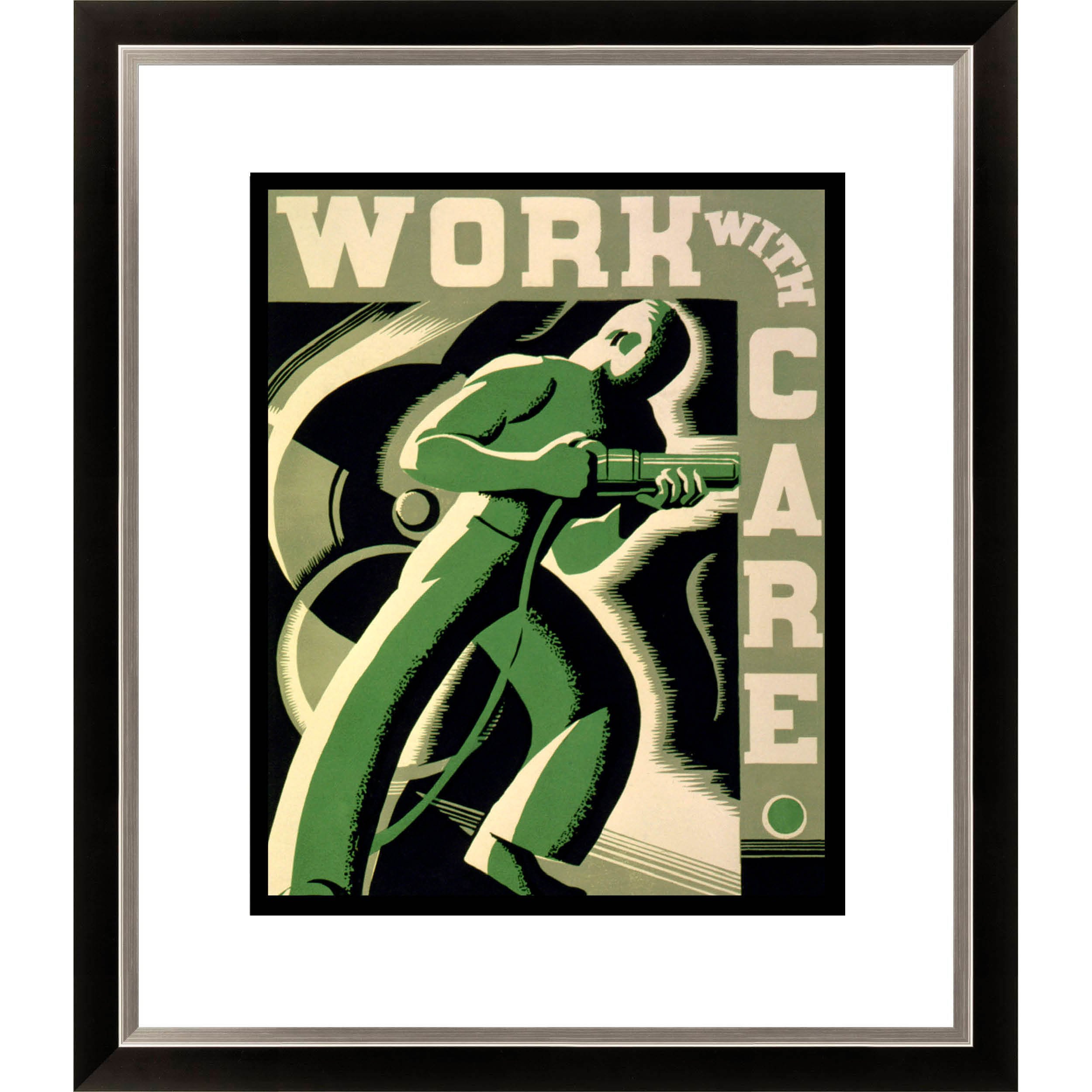 Gallery Direct 'Work with Care' Framed Limited Edition Americana Giclee