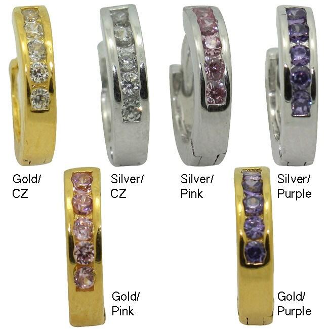 Gioelli Women's 14-karat Gold over Sterling Silver CZ Hoop endless Earrings