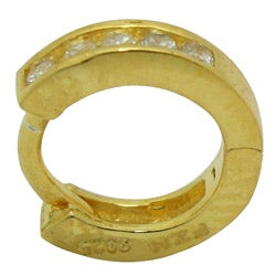 Gioelli Women's 14-karat Gold over Sterling Silver CZ Hoop endless Earrings - Thumbnail 1