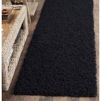 Safavieh Handmade Monterey Shag Black Polyester Runner Rug - 2'3 x 7'