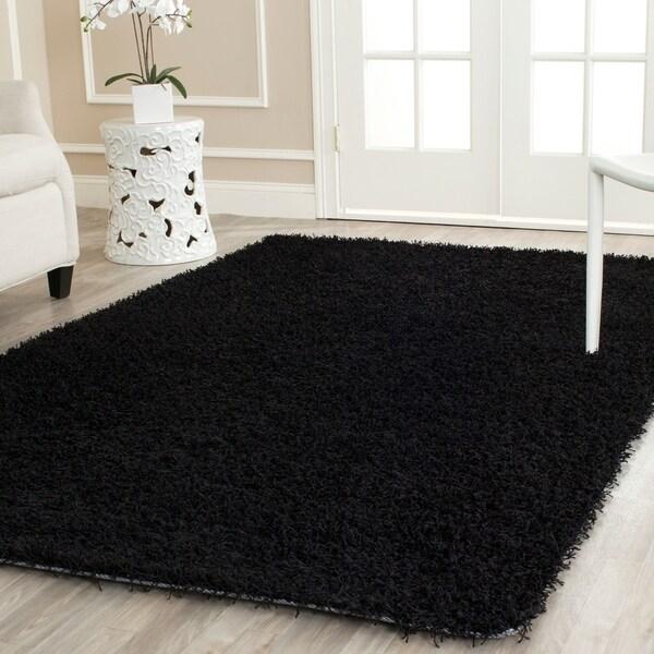 Safavieh Handmade Monterey Shag Black Polyester Area Rug - 4' x 6'
