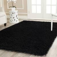 Safavieh Handmade Monterey Shag Black Polyester Area Rug - 6' x 9'