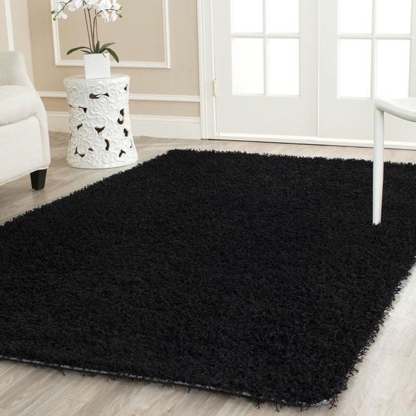 Safavieh Handmade Posh Black Shag Rug (6' x 9')