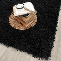 Safavieh Handmade Monterey Shag Black Polyester Rug (7' Square)