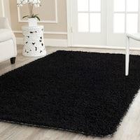 Safavieh Handmade Monterey Shag Black Polyester Area Rug - 8' x 10'