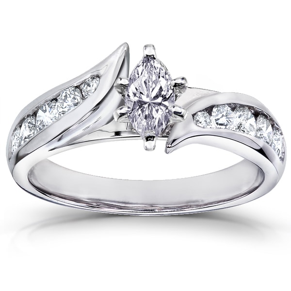 Annello by Kobelli 14k White Gold 7/8 ct TDW Marquise Diamond Engagement Ring (H-I, I1-I2