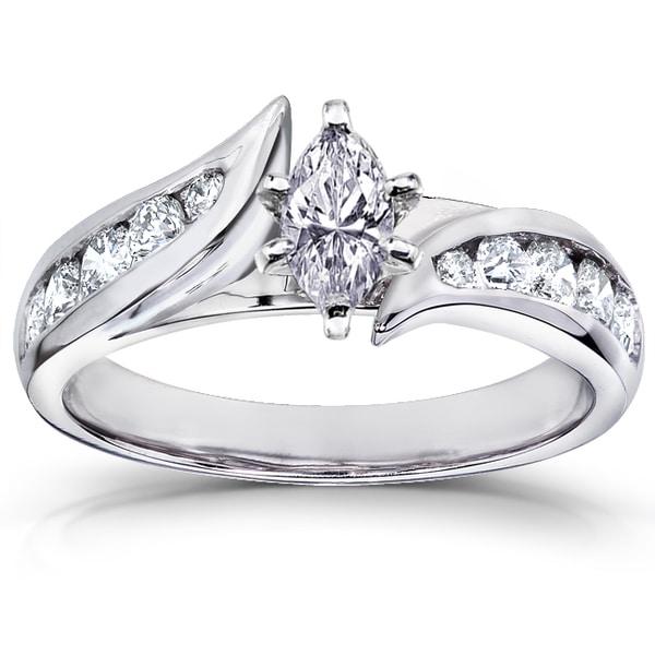 Annello 14k White Gold 7/8 ct TDW Marquise Diamond Engagement Ring (H-I, I1-I2)