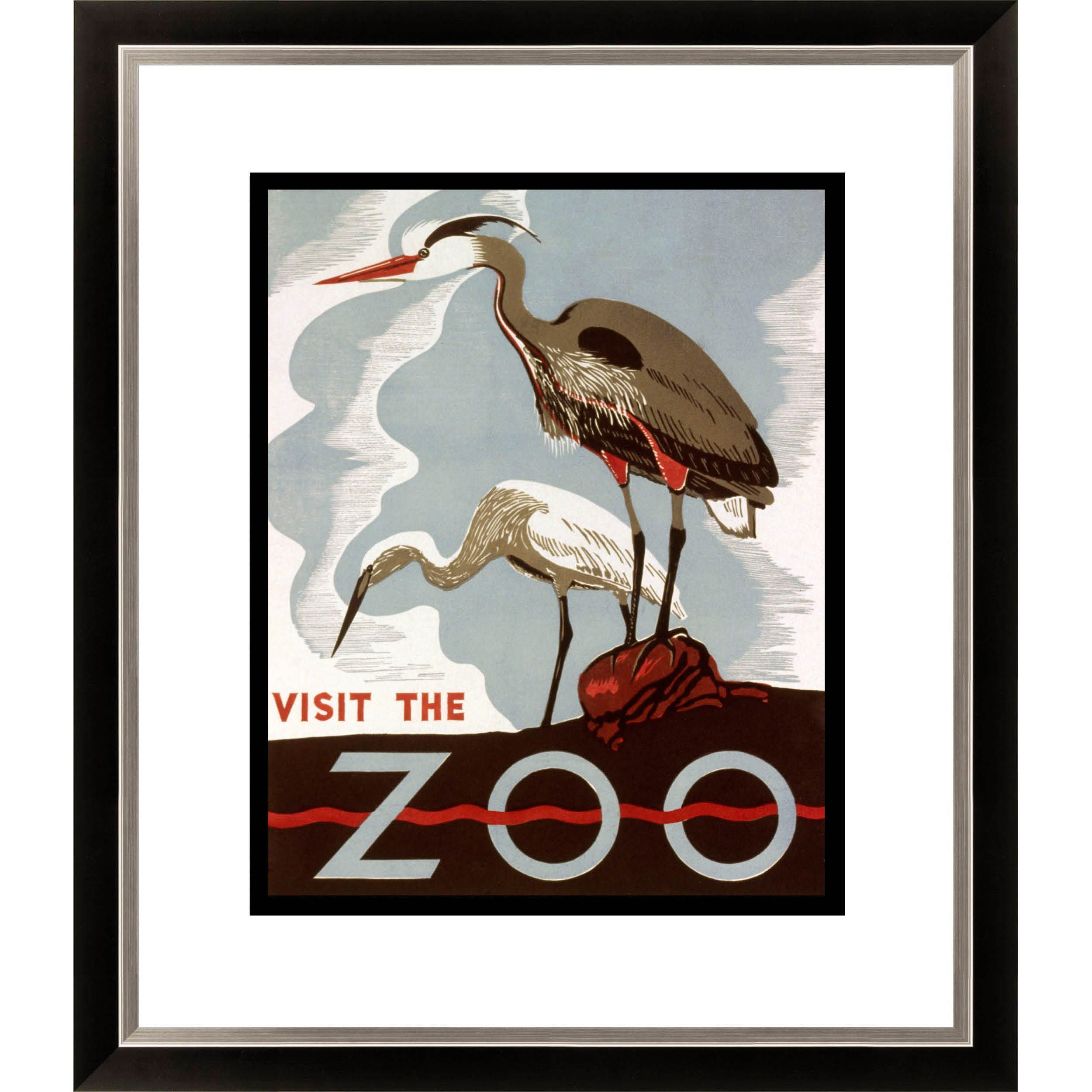 Gallery Direct Visit the Zoo Birds Framed Limited Edition Giclee Art