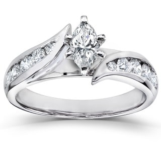 Annello by Kobelli 14k White Gold 1ct TDW Marquise Diamond Engagement Ring (H-I, I1-I2)