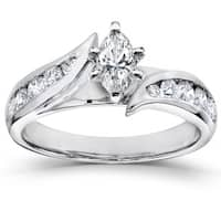 Annello by Kobelli 14k White Gold 1ct TDW Marquise Diamond Engagement Ring