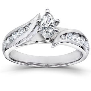 annello by kobelli 14k white gold 1ct tdw marquise diamond engagement ring - Marquise Wedding Rings