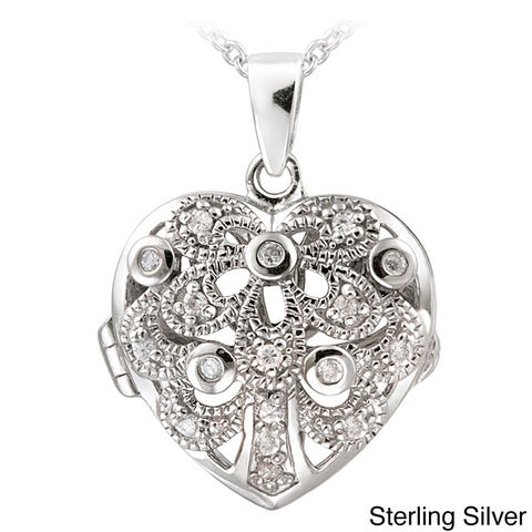 Icz Stonez Sterling Silver 1/5ct TGW Cubic Zirconia Heart Locket