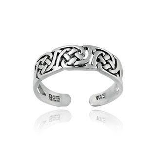 Mondevio Highly Polished Sterling Silver/Gold-overlay Celtic-knot Toe Ring