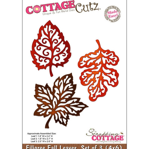 "CottageCutz Die 4""X6""-3 Filigree Fall Leaves Made Easy"