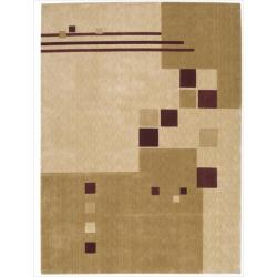 Nourison Parallels Geometric Beige Rug (2'3 x 3'9)