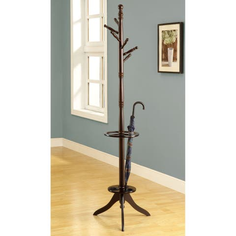 Cappucchino Solid Wood Coat Rack with Umbrella Holder