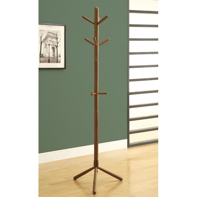 Oak Finish Wooden Coat Rack