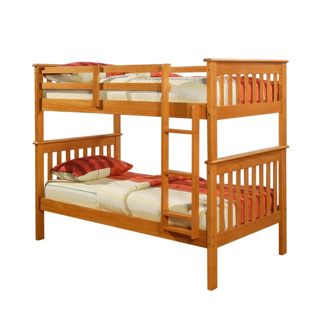 Donco Kids Mission Twin Honey Bunk Bed (Brown Finish - Br...
