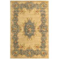 "Safavieh Handmade Ivory/ Light Blue Hand-spun Wool Rug - 9'6"" x 13'6"""