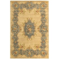 "Safavieh Handmade Ivory/ Light Blue Hand-spun Wool Rug - 9'-6"" x 13'-6"""