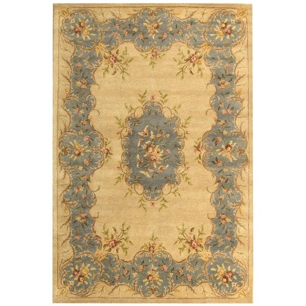 "Safavieh Handmade Ivory/ Light Blue Hand-spun Wool Rug - 9'6"" x 13'6"""