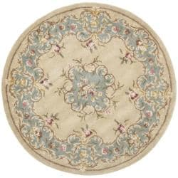 Safavieh Handmade Ivory/ Light Blue Hand-spun Wool Rug (6' Round)