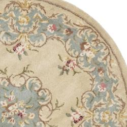 Safavieh Handmade Ivory/ Light Blue Hand-spun Wool Rug (8' Round)