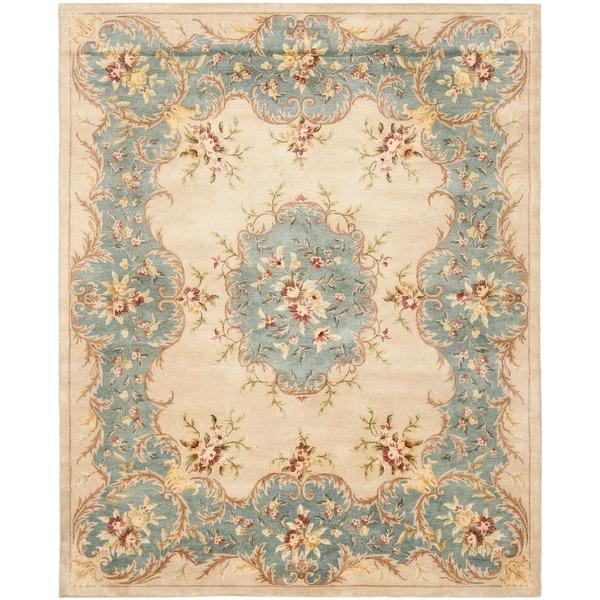 Safavieh Handmade Ivory/ Light Blue Hand-spun Wool Rug - 9' x 12'