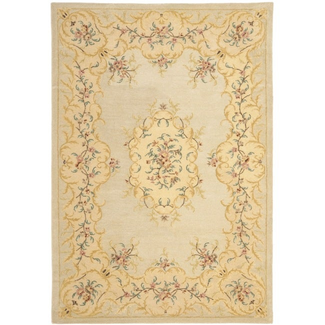 Safavieh Handmade Light Green/ Beige Hand-spun Wool Rug (9' x 12')