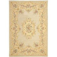 Safavieh Handmade Light Green/ Beige Hand-spun Wool Rug - 9' x 12'