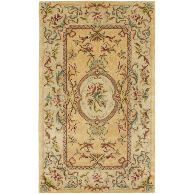 Safavieh Handmade Light Gold/ Beige Hand-spun Wool Rug (4' x 6')