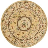 Safavieh Handmade Light Gold/ Beige Hand-spun Wool Rug - 6' x 6' Round