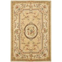 Safavieh Handmade Light Gold/ Beige Hand-spun Wool Rug - 8' x 10' - Thumbnail 0