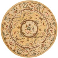 Safavieh Handmade Light Gold/ Beige Hand-spun Wool Rug - 8' x 8' Round
