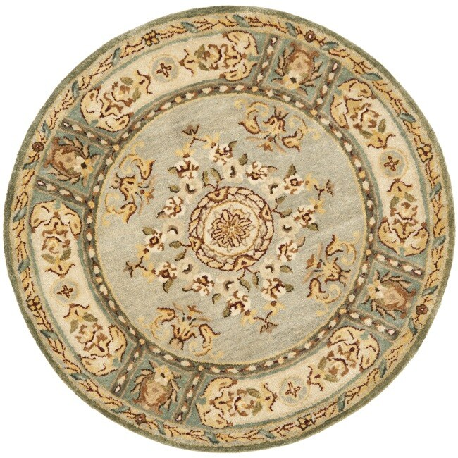 Safavieh Handmade Oasis Light Blue/ Ivory Hand-spun Wool Rug (8' Round)