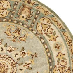 Safavieh Handmade Oasis Light Blue/ Ivory Hand-spun Wool Rug (8' Round) - Thumbnail 1