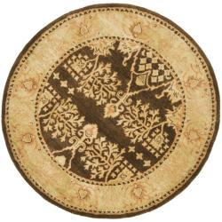 Safavieh Handmade Tree Brown/ Light Green Hand-spun Wool Rug (6' Round)