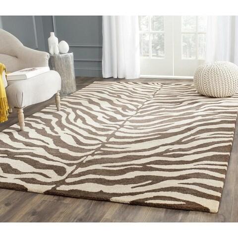 """Safavieh Handmade Zebra Beige Hand-spun Wool Rug - 9'6"""" x 13'6"""""""
