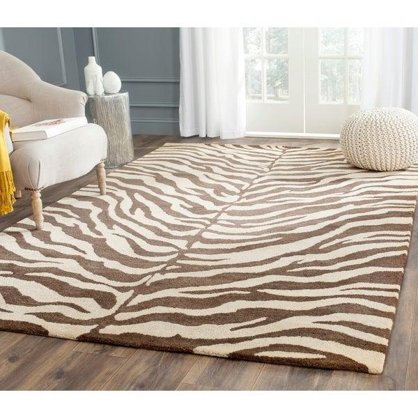 Safavieh Handmade Zebra Beige Hand-spun Wool Rug - 8' x 10'