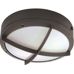 Hudson 2 Light Cross Grill Architectural Bronze With White Lexan Round Wall/Ceiling Fixture