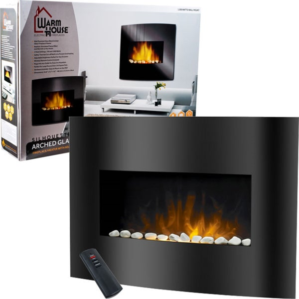 Warm House Black Arched Glass Electric Fireplace