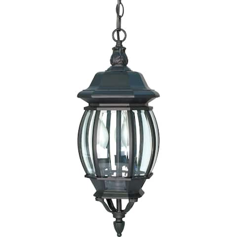 Central Park 3 Light Textured Black with Clear Beveled Panels Hanging Lantern