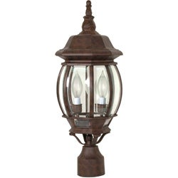 Central Park 3 Light Old Bronze With Clear Beveled Panels Post Lantern