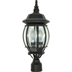 Central Park 3 Light Textured Black With Clear Beveled Panels Post Lantern