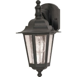 Cornerstone 1 Light Textured Black w/ Clear Seed Wall Lantern