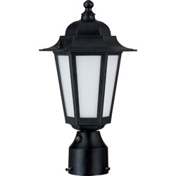 Cornerstone 1 Light Textured Black With Satin White Glass Post Lantern
