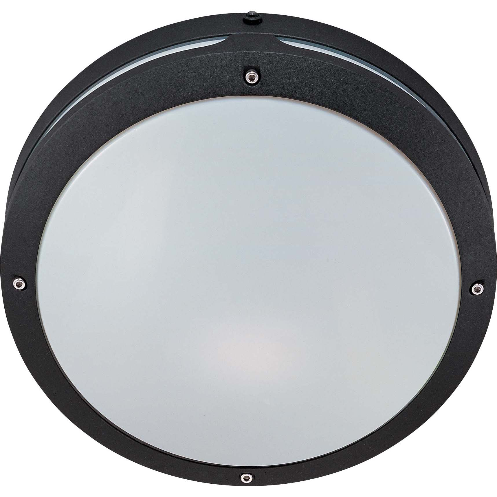 Hudson 2 Light Matte Black With White Lexan Round Wall/Ceiling Fixture
